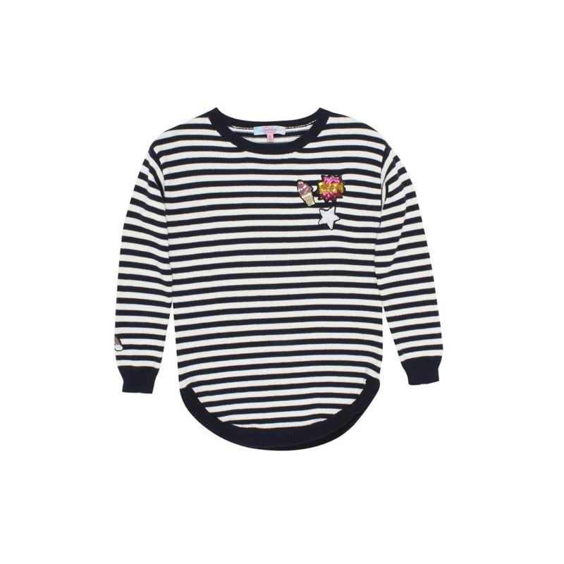 Tahlia by Minihaha - Seattle Knit Stripe Jumper Navy/Cloud