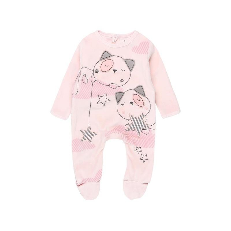 Boboli - Pink Velour play suit for baby girl