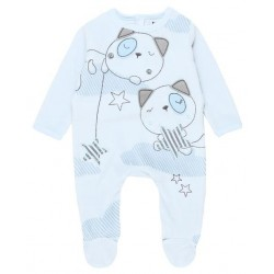 Boboli - Blue Velour play suit for baby boy