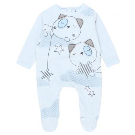 Boboli - Blue Velour play suit for baby boy