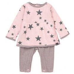 Boboli - Pink star knit play suit for baby girl