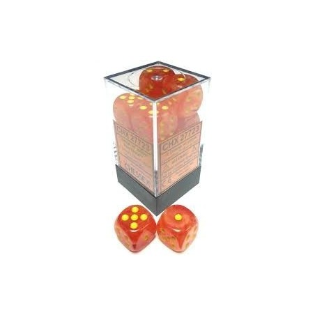 D6 Dice Ghostly Glow 16mm Orange/Yellow (12 Dice in Display)