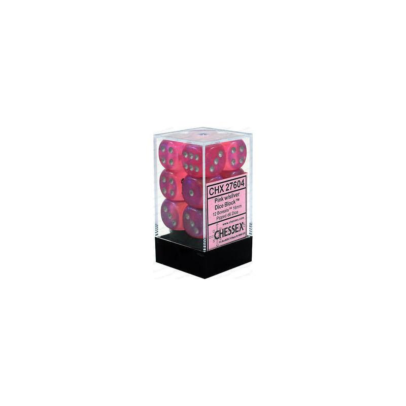 D6 Dice Borealis 16mm Pink/Silver (12 Dice in Display)