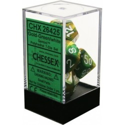 D7-Die Set Dice Gemini Polyhedral Gold-Green/White (7 Dice in Display)